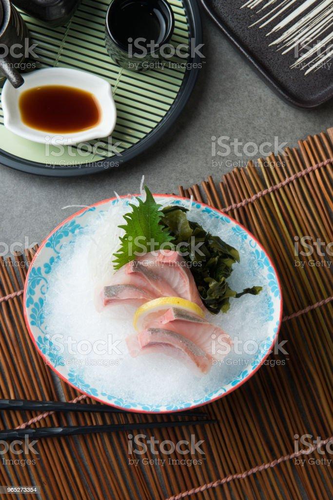 Greater Amberjack Kanpachi  Sashimi sushi royalty-free stock photo