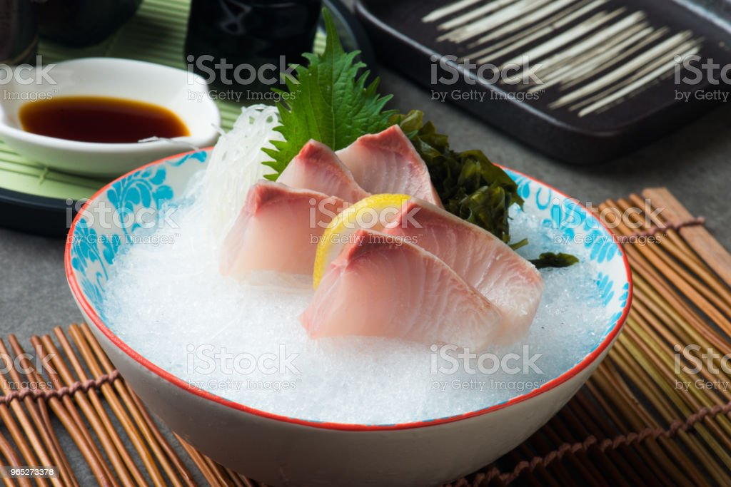 Greater Amberjack Kanpachi  Sashimi sushi royalty-free stock photo