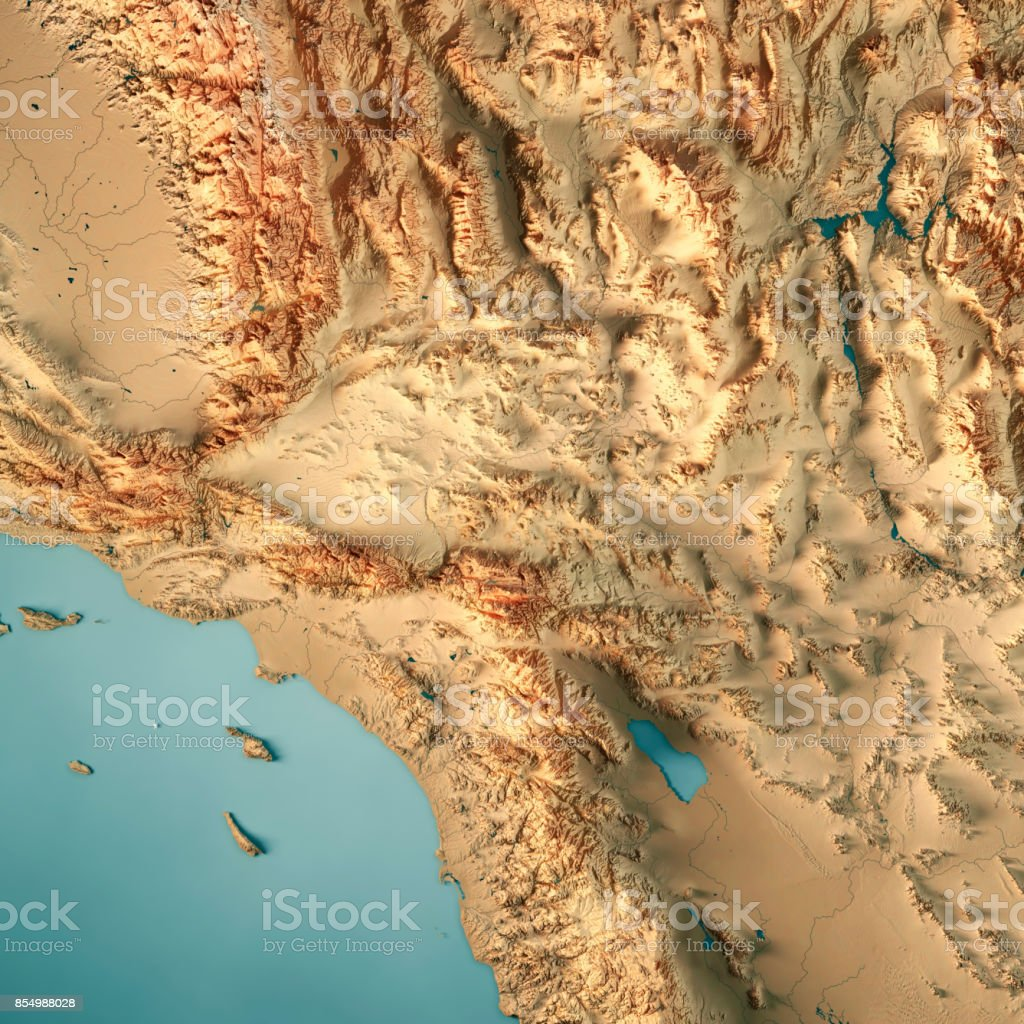 Greater Los Angeles Area Usa 3d Render Topographic Map Stock Photo