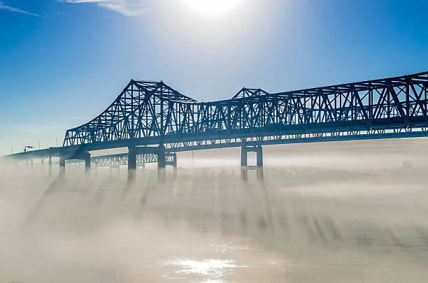 Greater New Orleans Bridge in misty morning stock photo
