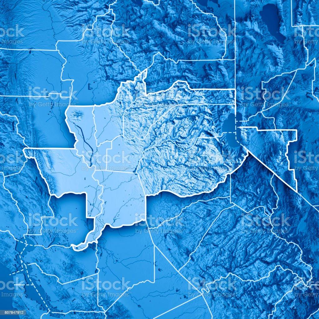 Greater Sacramento Area California USA 3D Render Topographic Map Blue Border stock photo