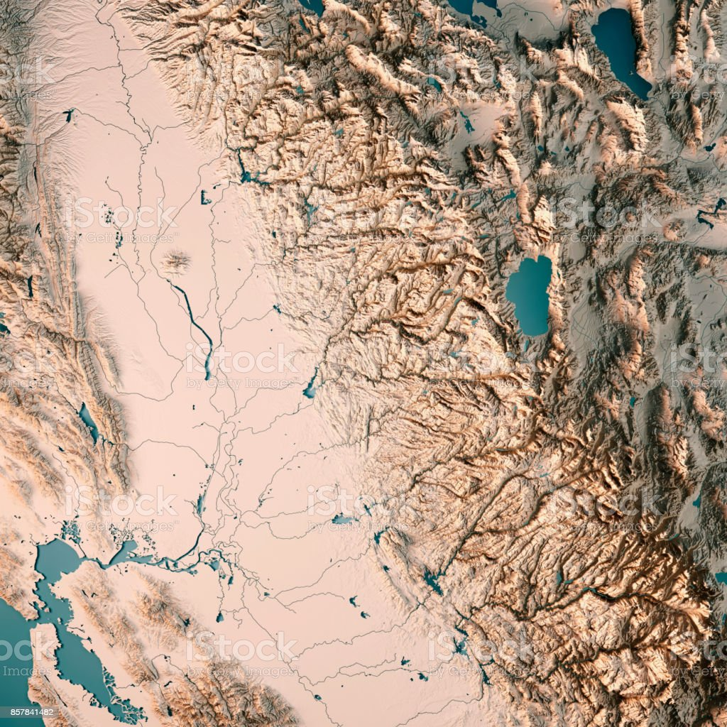 Greater Sacramento Area California USA 3D Render Topographic Map Neutral stock photo