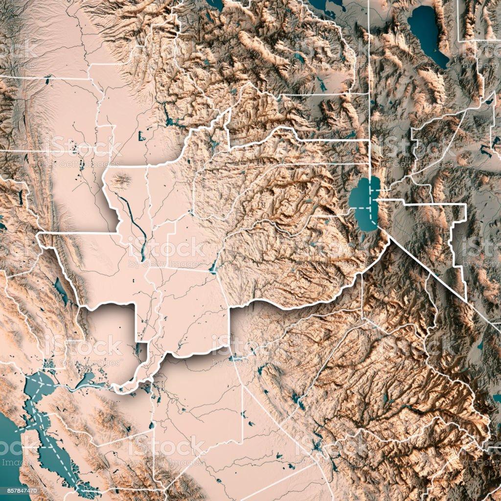 Greater Sacramento Area California USA 3D Render Topographic Map Neutral Border stock photo