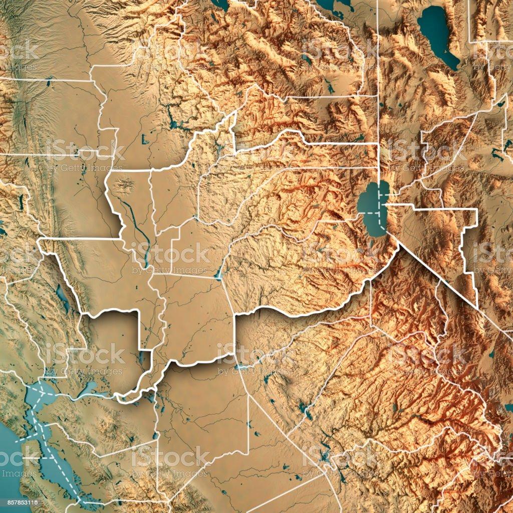 Greater Sacramento Area California USA 3D Render Topographic Map Border stock photo