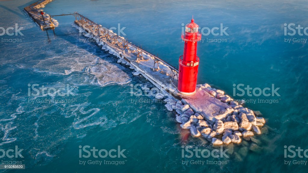 Greatlakes Lighthouse in frozen winter temperatures stock photo
