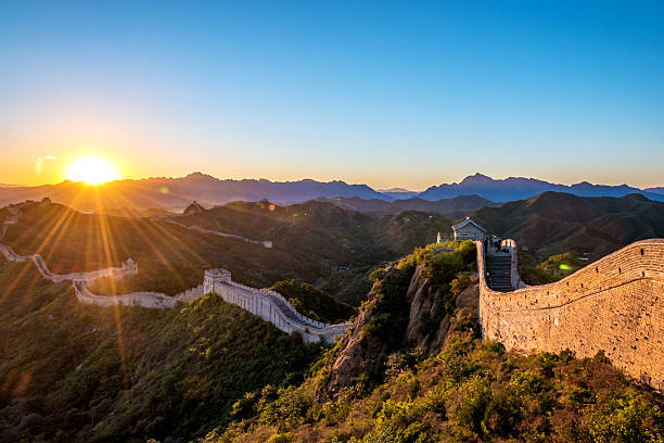 greatwall with sunset stock photo