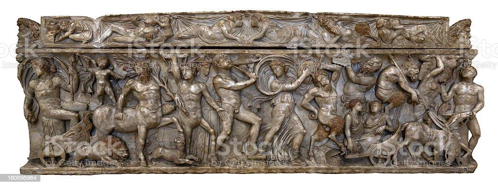 Greco-Roman marble sarcophagus stock photo