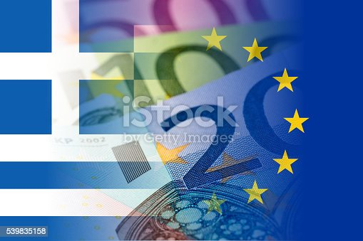 istock greece and eu flags with euro banknotes 539835158