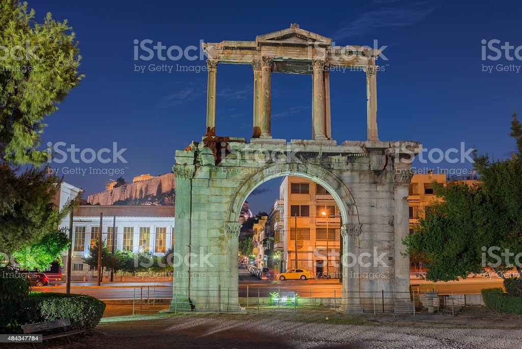 Greece, Athens. Arch of Hadrian at night stock photo