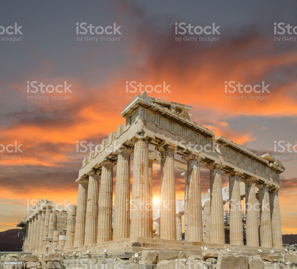 Greece Athens Parthenon monument sunset stock photo