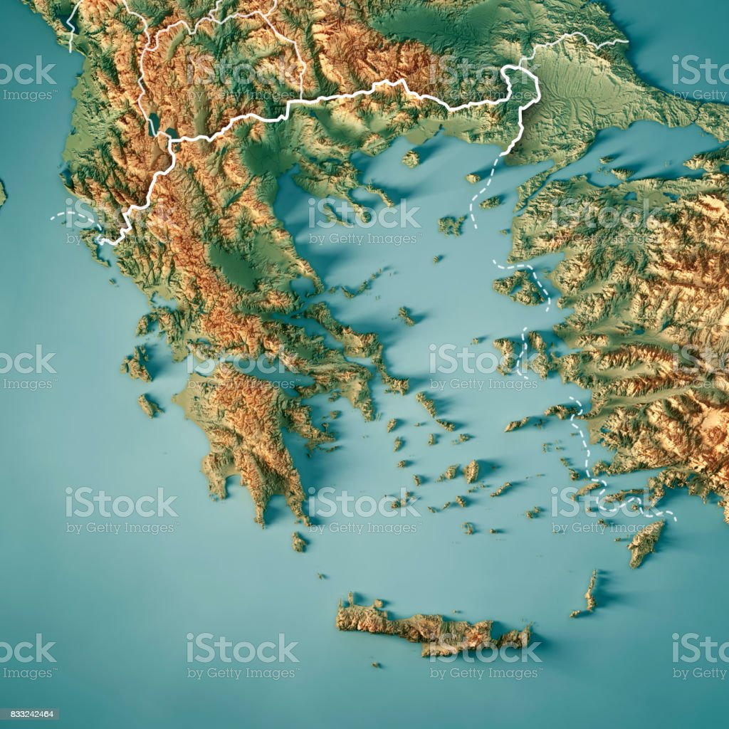 Greece Country 3d Render Topographic Map Border Stock Photo