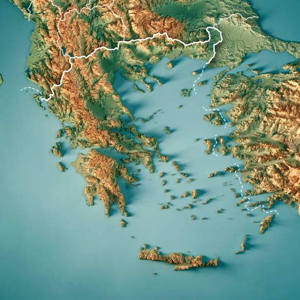 그리스 국가 3d 렌더링 지형도 테두리 - 이오니아 해 뉴스 사진 이미지