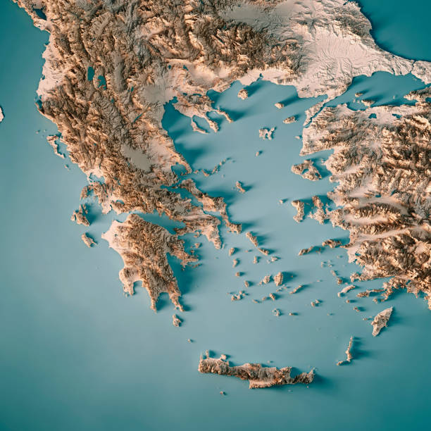 greece country 3d render topographic map neutral - grecia stato foto e immagini stock