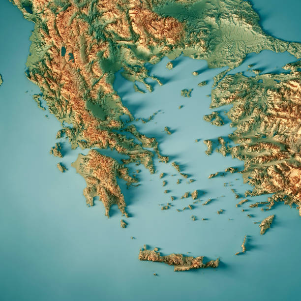 greece country 3d render topographic map - grecia stato foto e immagini stock