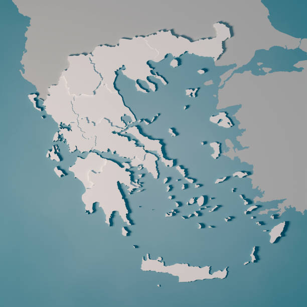 greece country map administrative divisions 3d render - grecia stato foto e immagini stock