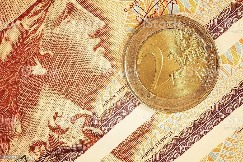 Greece Drachma Note Close Up | Greek Currency Series stock photo
