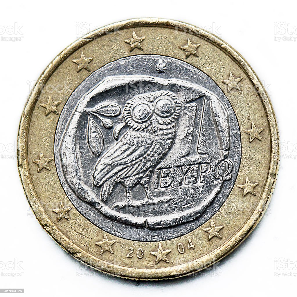 greece euro coin stock photo