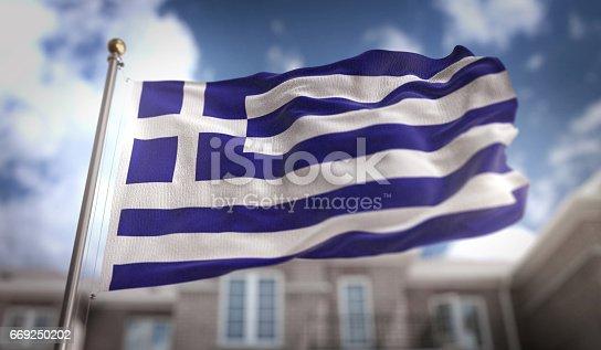 istock Greece Flag 3D Rendering on Blue Sky Building Background 669250202