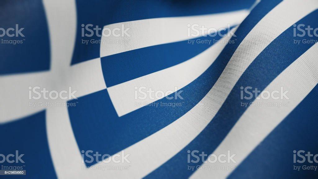 Bandera de Grecia, los griegos la bandera realista Ilustración 3D - foto de stock