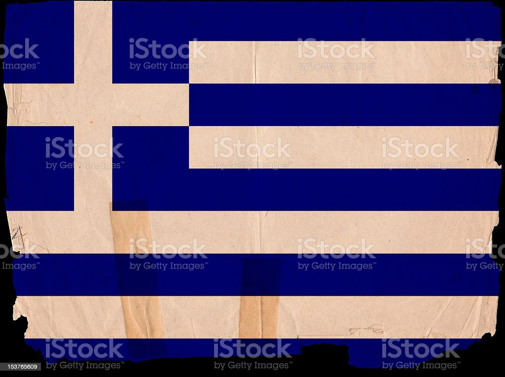 Greece Flag Grunge Old Vintage Damaged Paper royalty-free stock photo