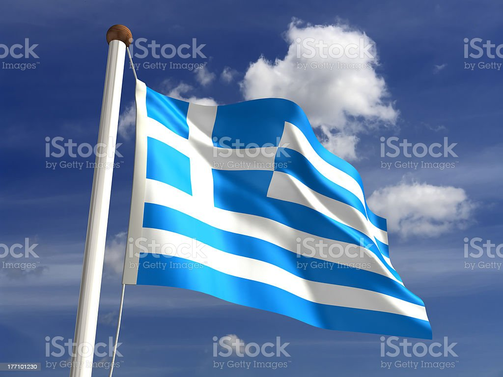Greece flag (with clipping path) stock photo
