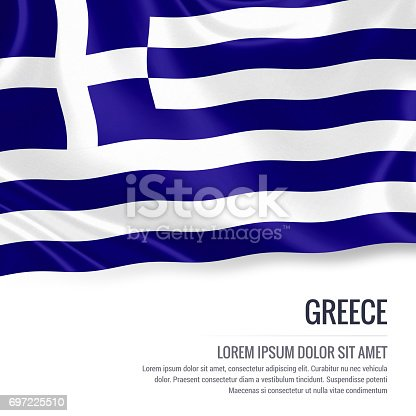 istock Greece flag. Silky flag of Greece waving on an isolated white background with the white text area for your advert message. 3D rendering. 697225510