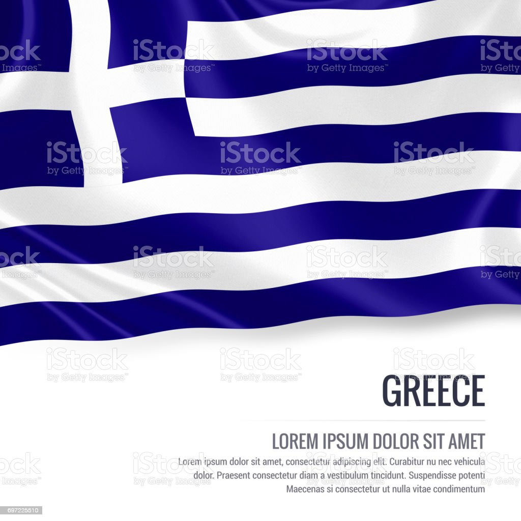Greece flag. Silky flag of Greece waving on an isolated white background with the white text area for your advert message. 3D rendering. stock photo