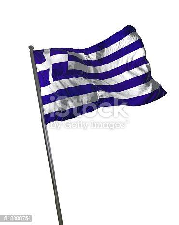 istock Greece Flag Waving Isolated on White Background Portrait 813800754
