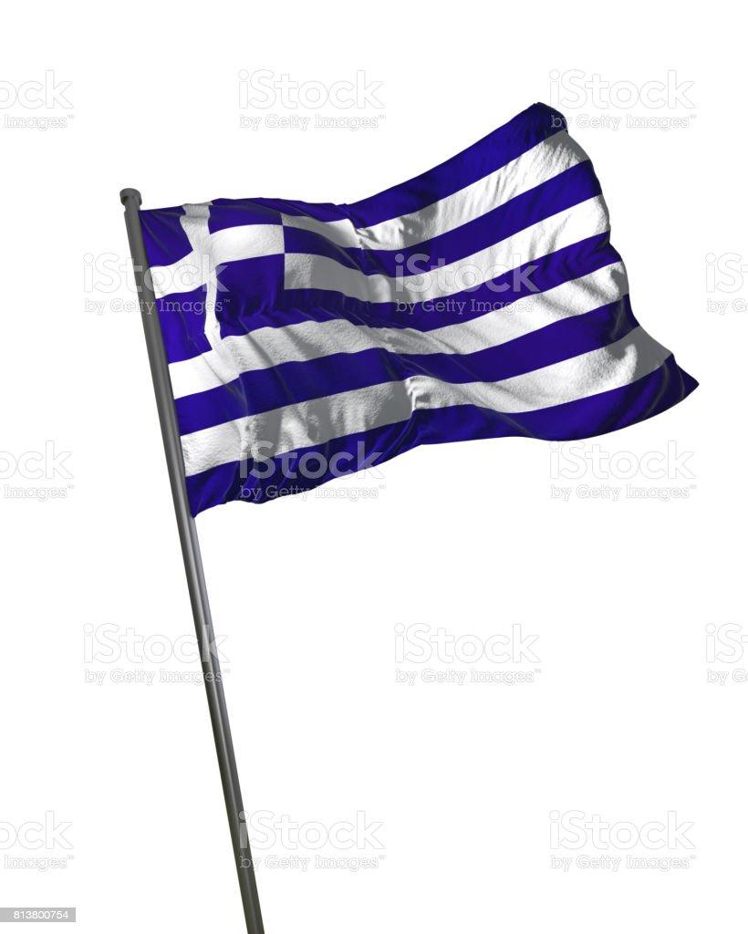 Greece Flag Waving Isolated on White Background Portrait stock photo
