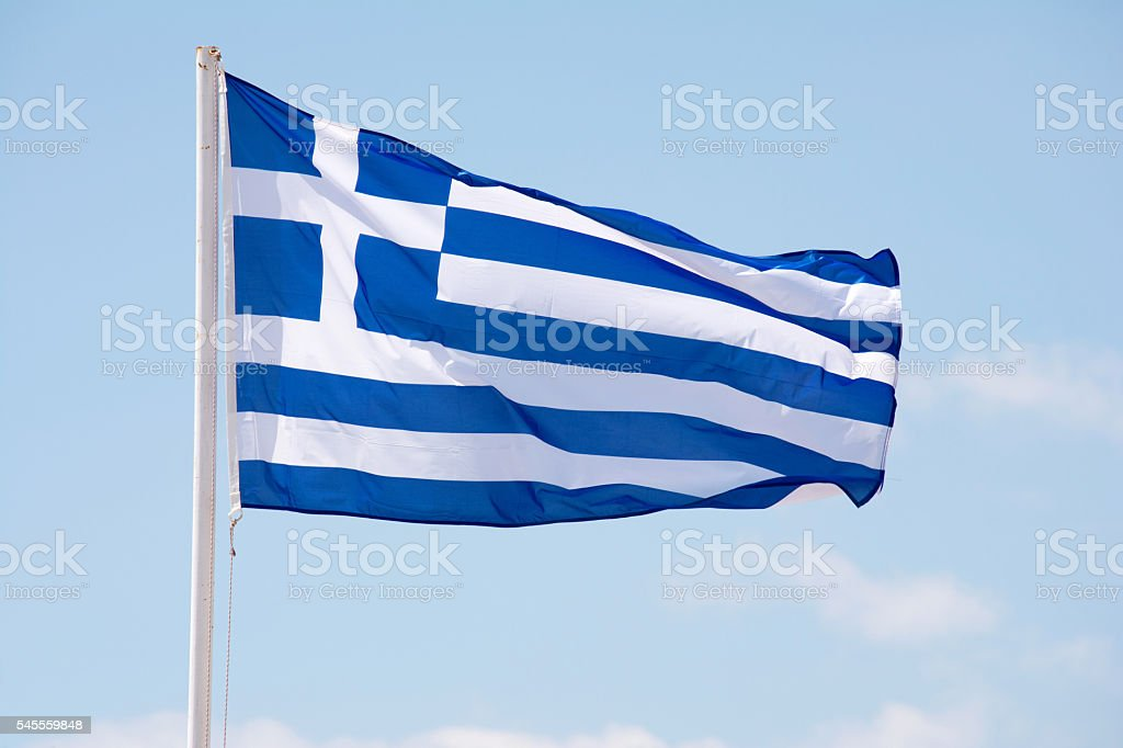 Greece flag waving on the wind stock photo