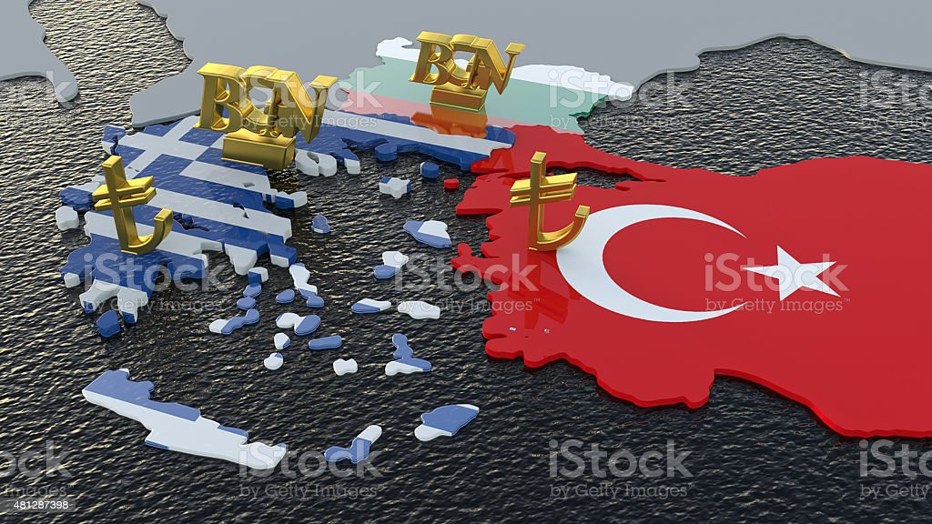 Greece Flag With Turkish Lira And Bulgarian Lev Stock Photo More