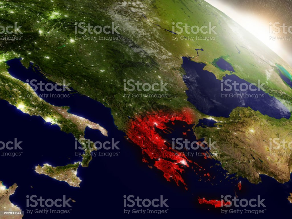 Greece from space highlighted in red stock photo