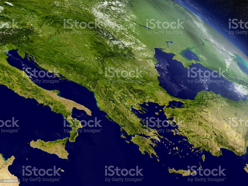 Greece from space stock photo