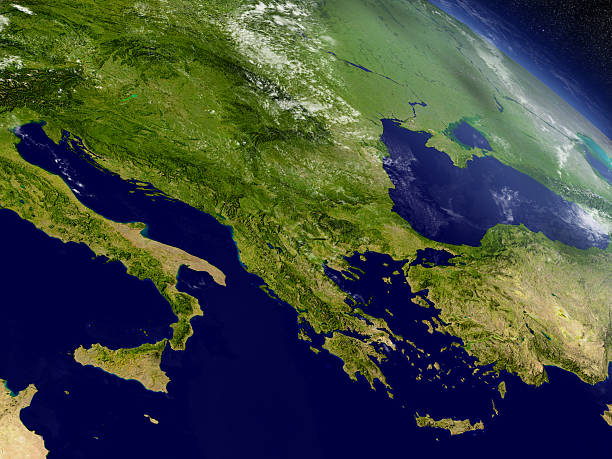 greece from space - croak stock pictures, royalty-free photos & images