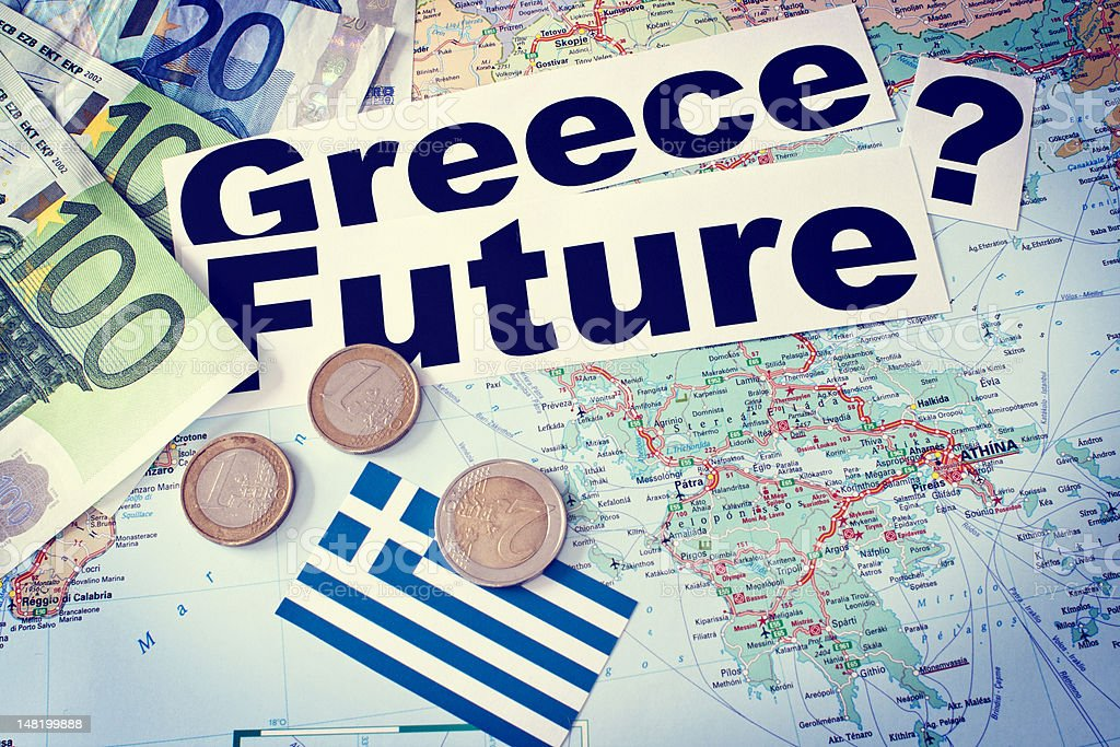 Greece? Future? EURO? - tinted stock photo