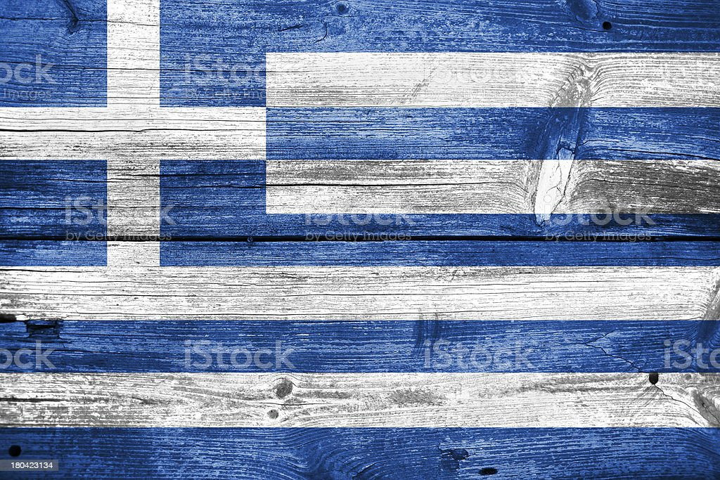 greece, greek flag painted on old wood plank background royalty-free stock photo