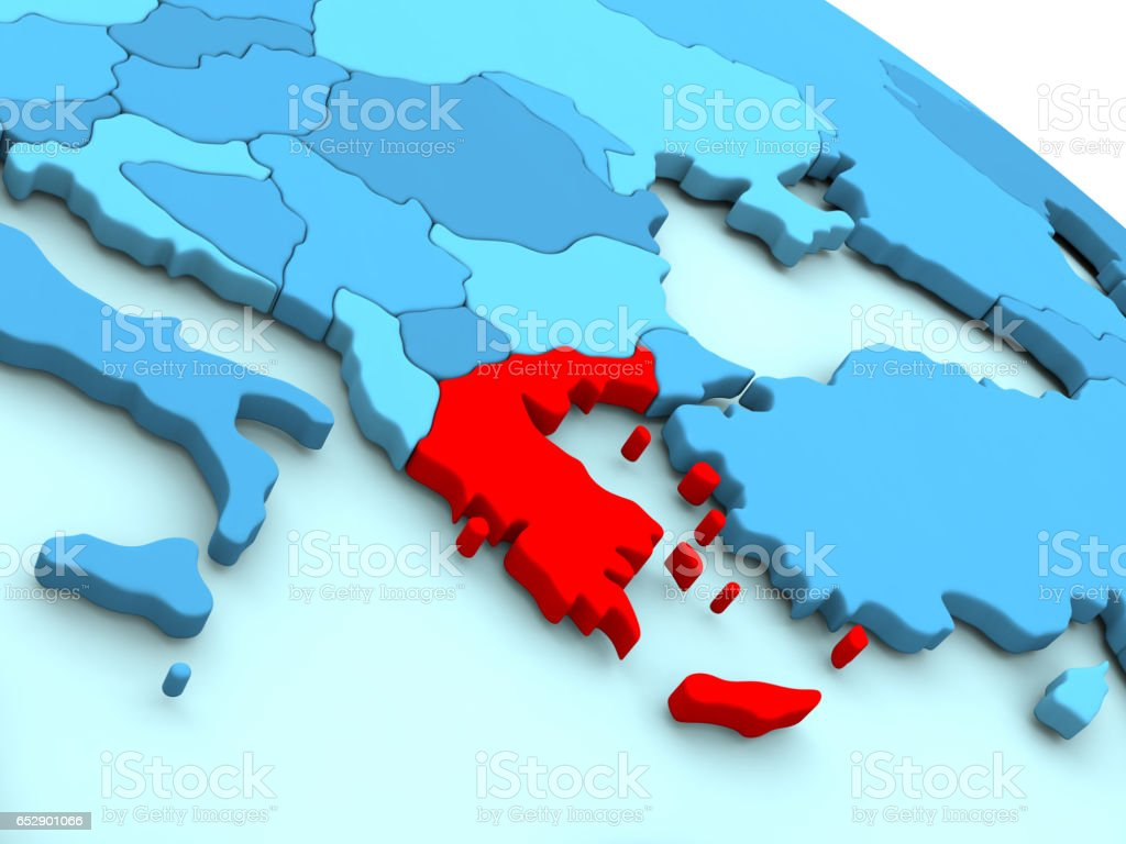 Greece in red on blue globe stock photo