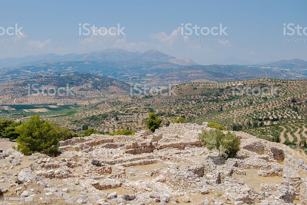 Greece landscape with ruins, mountains and terrain stock photo
