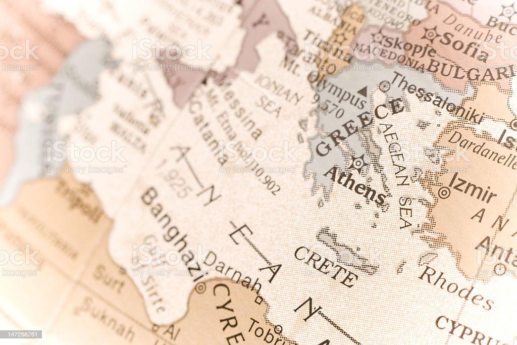 Greece map detail stock photo