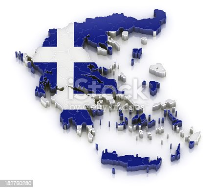 istock Greece map with flag 182760280
