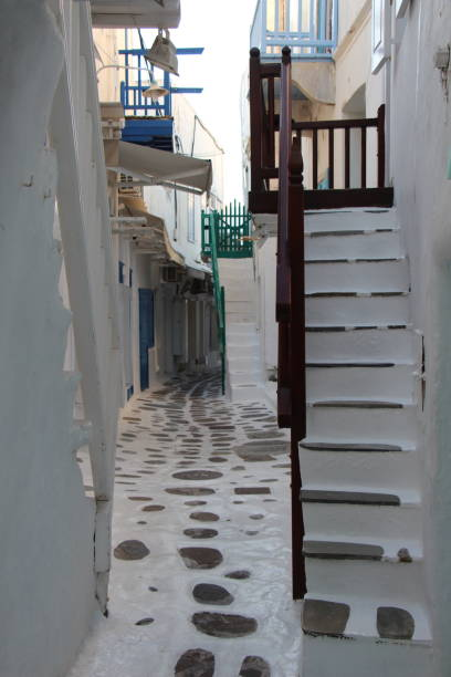 Greece - Mykonos - alley in the old town stock photo