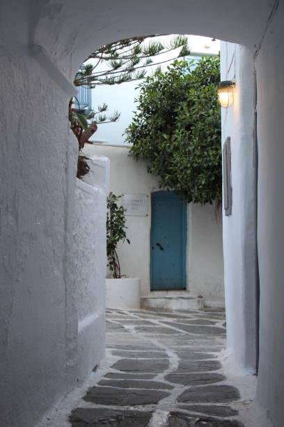Greece - Mykonos - street  in the old town stock photo