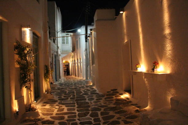 Greece - mykonos town at night stock photo