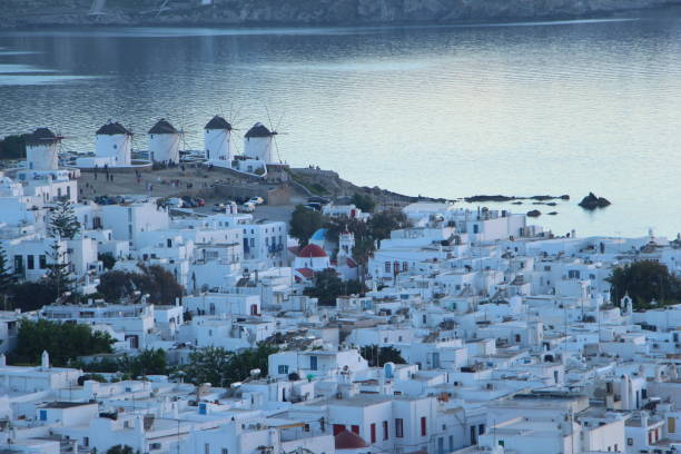 Greece - Mykonos  - view  on the old town stock photo