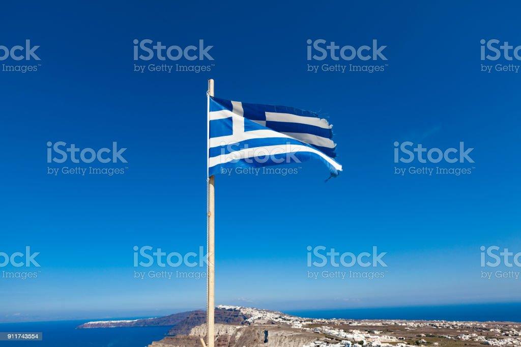 Bandera Nacional de Grecia isla de santorini, Grecia - foto de stock