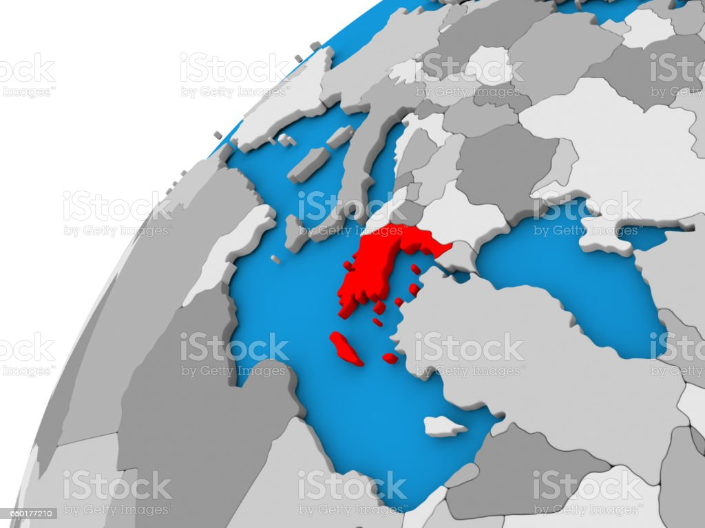 Greece on globe in red stock photo