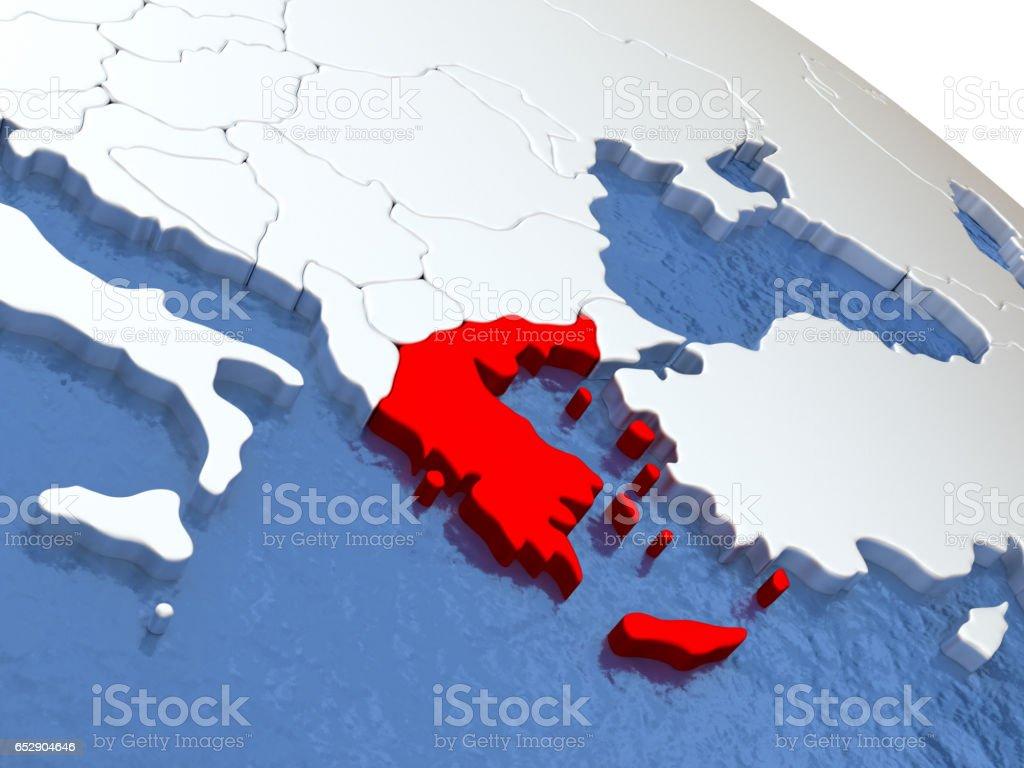 Greece on globe stock photo