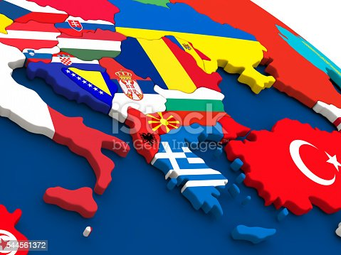istock Greece on globe with flags 544561372