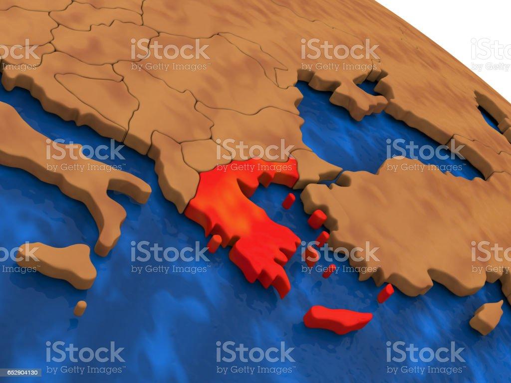 Greece on wooden globe stock photo