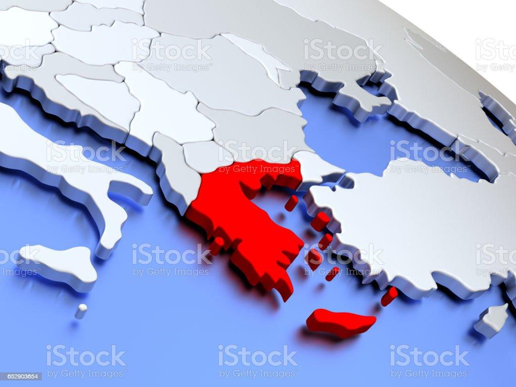 Greece on world map stock photo